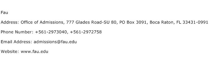 Fau Address Contact Number
