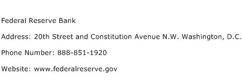 Federal Reserve Bank Address Contact Number