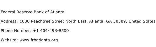 Federal Reserve Bank of Atlanta Address Contact Number