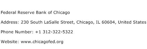 Federal Reserve Bank of Chicago Address Contact Number