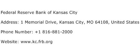 Federal Reserve Bank of Kansas City Address Contact Number