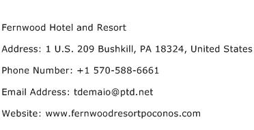 Fernwood Hotel and Resort Address Contact Number