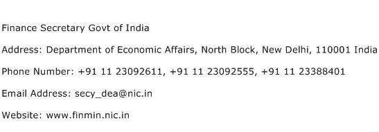 Finance Secretary Govt of India Address Contact Number