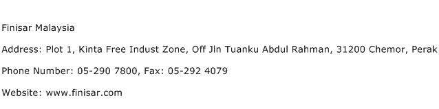 Finisar Malaysia Address Contact Number
