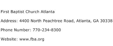 First Baptist Church Atlanta Address Contact Number