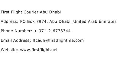 First Flight Courier Abu Dhabi Address Contact Number