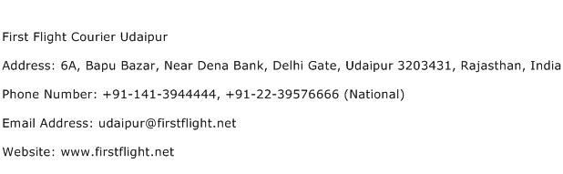First Flight Courier Udaipur Address Contact Number