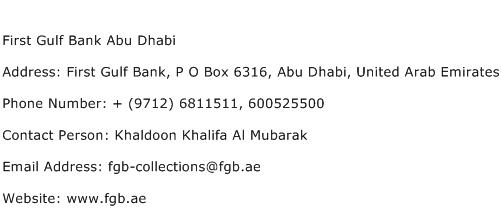 First Gulf Bank Abu Dhabi Address Contact Number