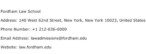 Fordham Law School Address Contact Number
