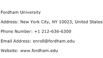 Fordham University Address Contact Number