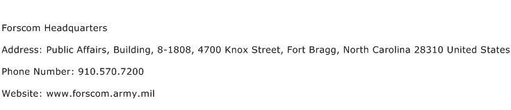 Forscom Headquarters Address Contact Number