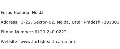 Fortis Hospital Noida Address Contact Number