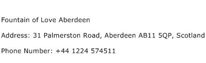 Fountain of Love Aberdeen Address Contact Number