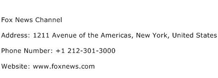 Fox News Channel Address Contact Number