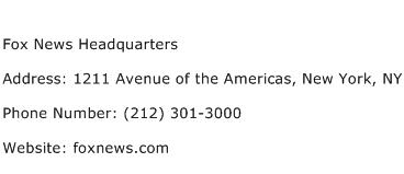 Fox News Headquarters Address Contact Number