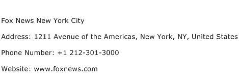 Fox News New York City Address Contact Number