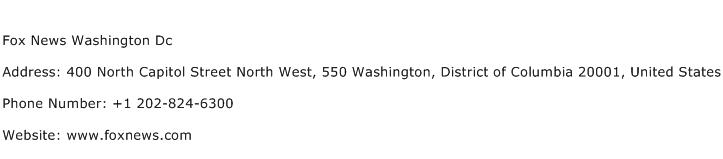 Fox News Washington Dc Address Contact Number