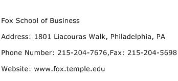 Fox School of Business Address Contact Number