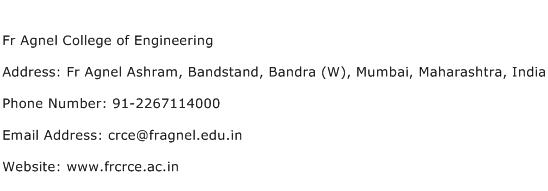 Fr Agnel College of Engineering Address Contact Number
