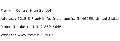 Franklin Central High School Address Contact Number Of Franklin