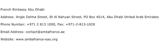 French Embassy Abu Dhabi Address Contact Number