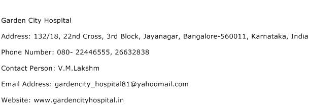 Garden City Hospital Address Contact Number