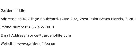 Garden of Life Address Contact Number