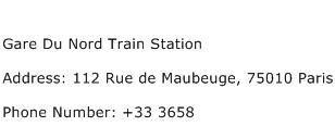 Gare Du Nord Train Station Address Contact Number