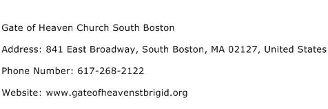 Gate of Heaven Church South Boston Address Contact Number
