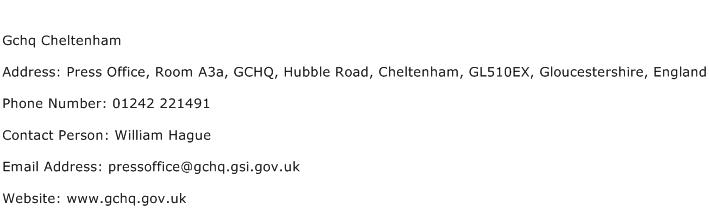 Gchq Cheltenham Address Contact Number