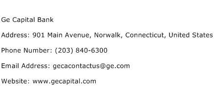 Ge Capital Bank Address Contact Number