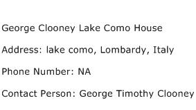 George Clooney Lake Como House Address Contact Number