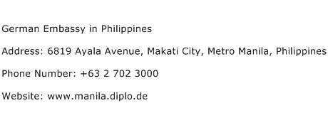 German Embassy in Philippines Address Contact Number