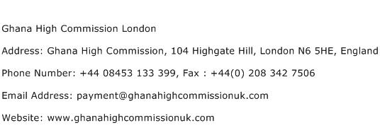 Ghana High Commission London Address Contact Number