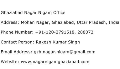 Ghaziabad Nagar Nigam Office Address Contact Number