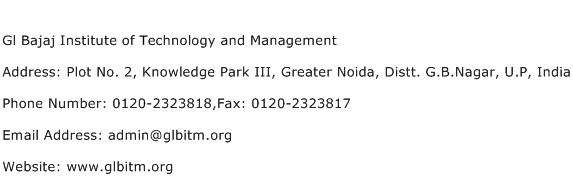 Gl Bajaj Institute of Technology and Management Address Contact Number