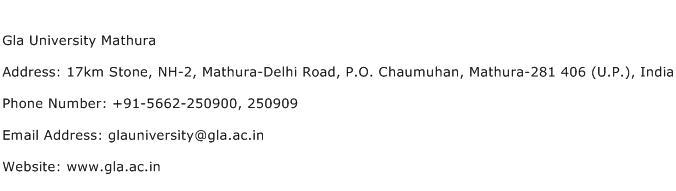 Gla University Mathura Address Contact Number