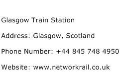 Glasgow Train Station Address Contact Number