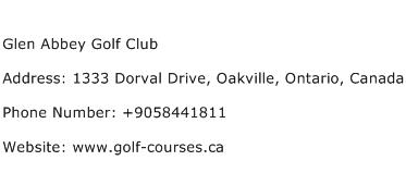 Glen Abbey Golf Club Address Contact Number
