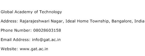 Global Academy of Technology Address Contact Number