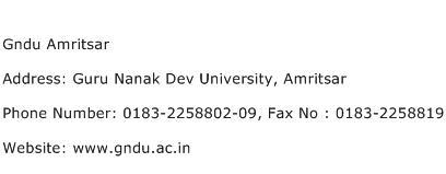 Gndu Amritsar Address Contact Number