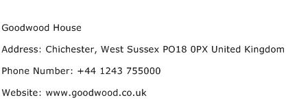 Goodwood House Address Contact Number
