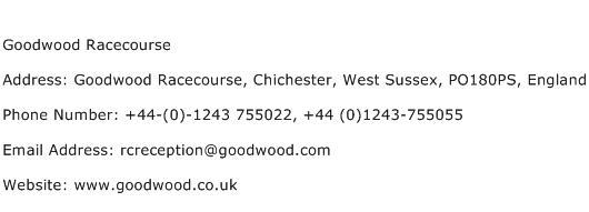 Goodwood Racecourse Address Contact Number