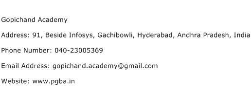 Gopichand Academy Address Contact Number