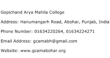 Gopichand Arya Mahila College Address Contact Number