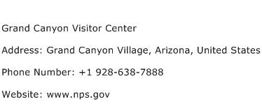 Grand Canyon Visitor Center Address Contact Number
