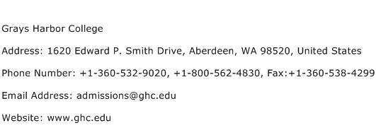 Grays Harbor College Address Contact Number