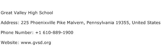 Great Valley High School Address Contact Number