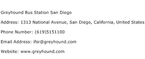 Greyhound Bus Station San Diego Address Contact Number