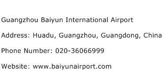 Guangzhou Baiyun International Airport Address Contact Number